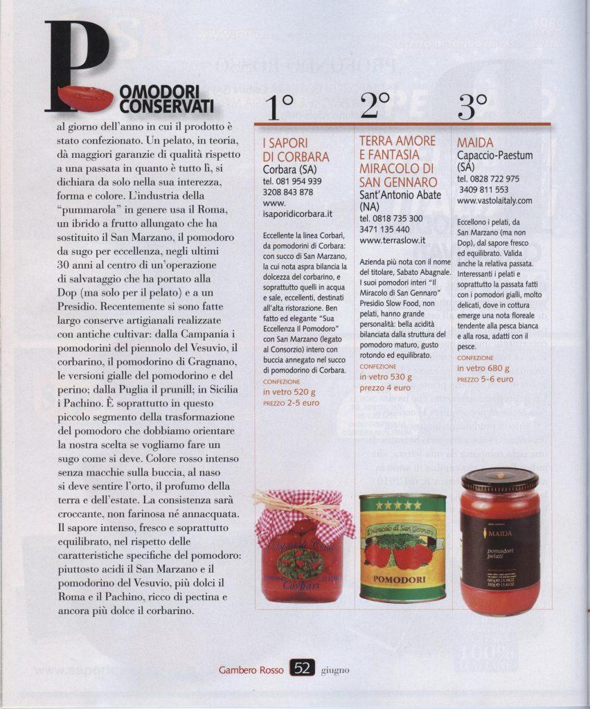 Gambero Rosso Giugno 2011 - La Buona Spesa - La classifica dei migliori Pomodori Conservati. Primo... I Sapori di Corbara